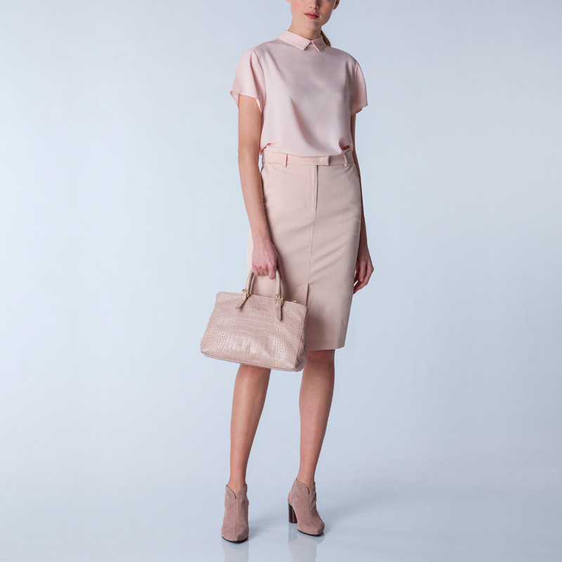 Embossed Leather Nude Bag Sienna YG 5330819 LLC | TJ COLLECTION | Side Image - 4