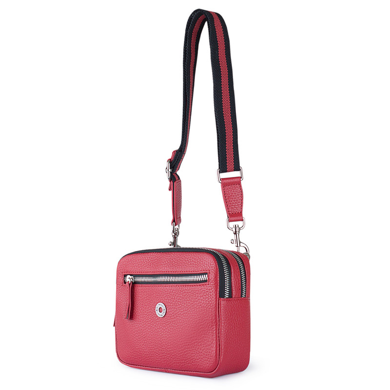 Red Grained Leather Belt Bag Riva YH 5120919 RDB | TJ COLLECTION | Side Image - 1