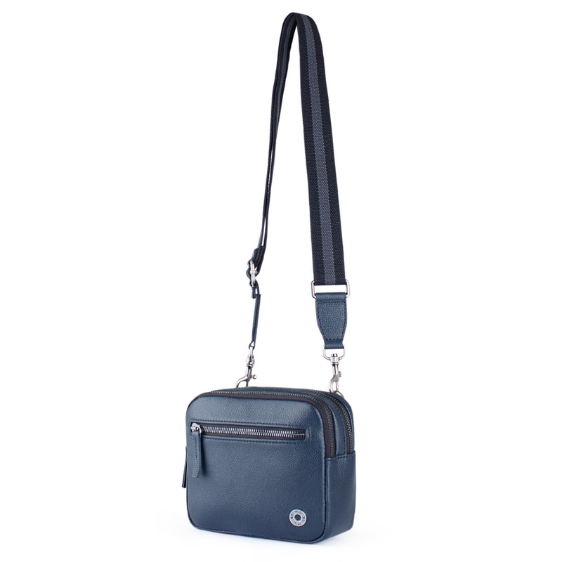 Grained Leather Belt Bag Riva YH 8120919 NVY | TJ COLLECTION | Side Image - 1