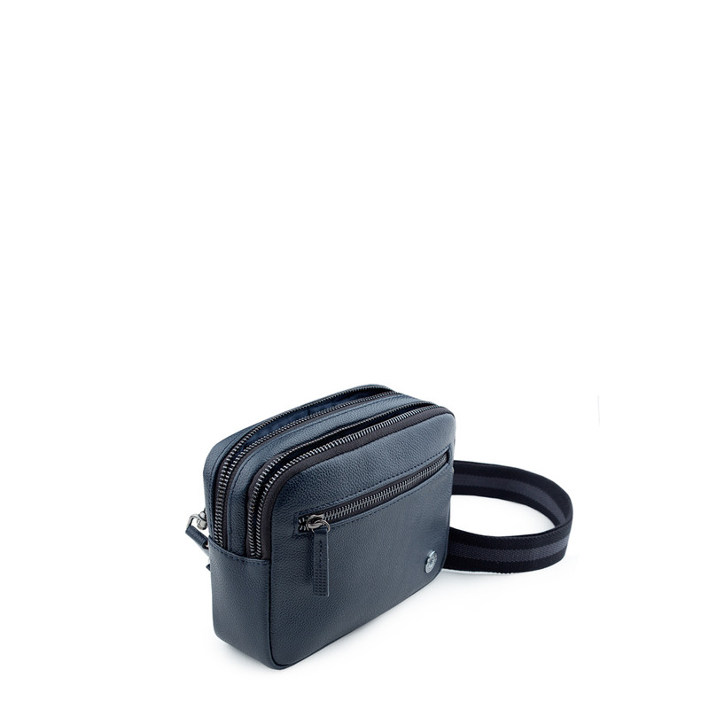 Grained Leather Belt Bag Riva YH 8120919 NVY | TJ COLLECTION | Side Image - 3