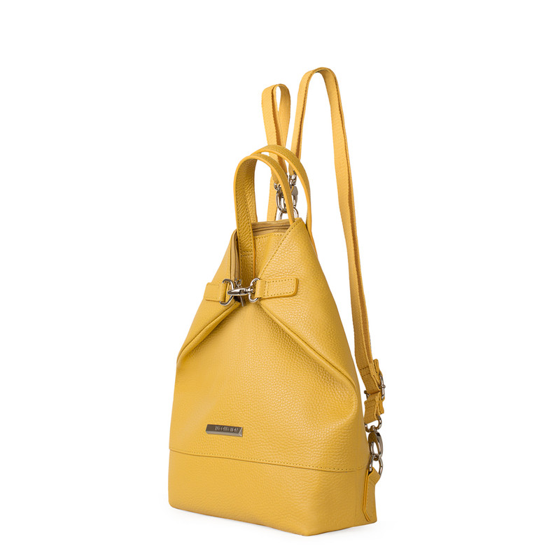 Citrus Yellow Leather Transformer Torbole Backpack YH 8339119 YLW R | TJ COLLECTION | Side Image - 1