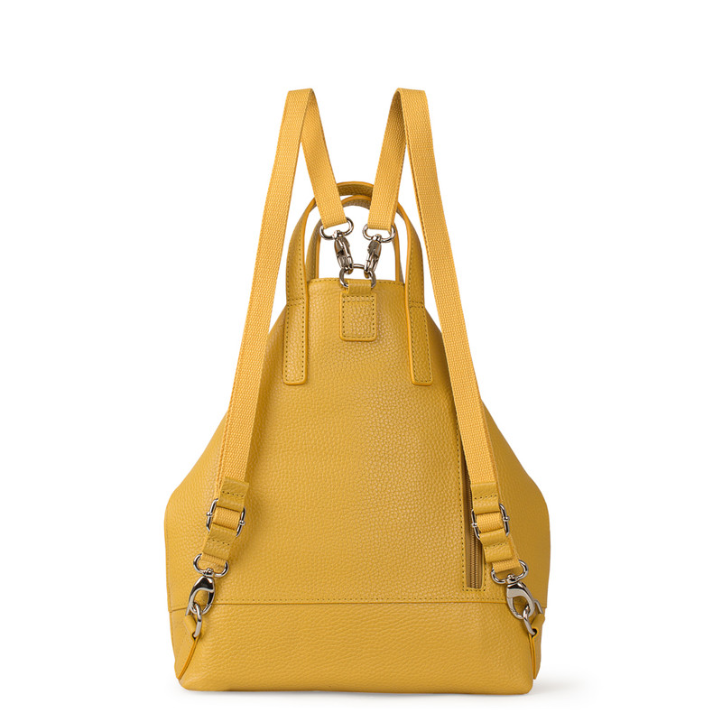 Citrus Yellow Leather Transformer Torbole Backpack YH 8339119 YLW R | TJ COLLECTION | Side Image -2