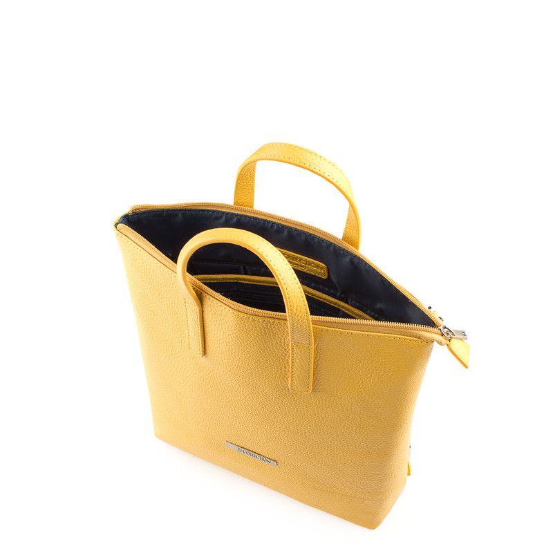 Citrus Yellow Leather Transformer Torbole Backpack YH 8339119 YLW R | TJ COLLECTION | Side Image - 3