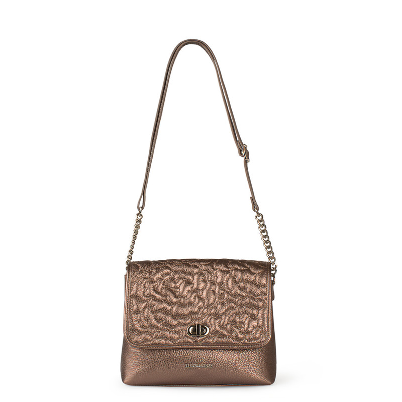 Bronze Metallic Leather Bag with Flower Embroidery YM 5220519 BRZ