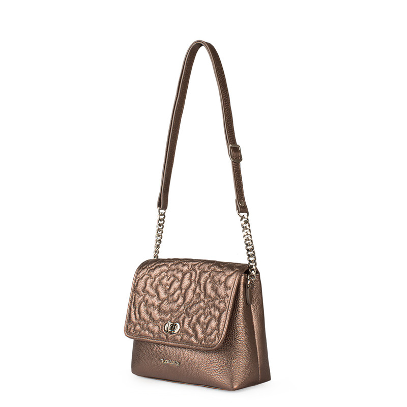 Bronze Metallic Leather Bag with Flower Embroidery YM 5220519 BRZ | TJ COLLECTION | Side Image - 1