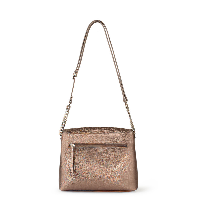Bronze Metallic Leather Bag with Flower Embroidery YM 5220519 BRZ | TJ COLLECTION | Side Image - 2