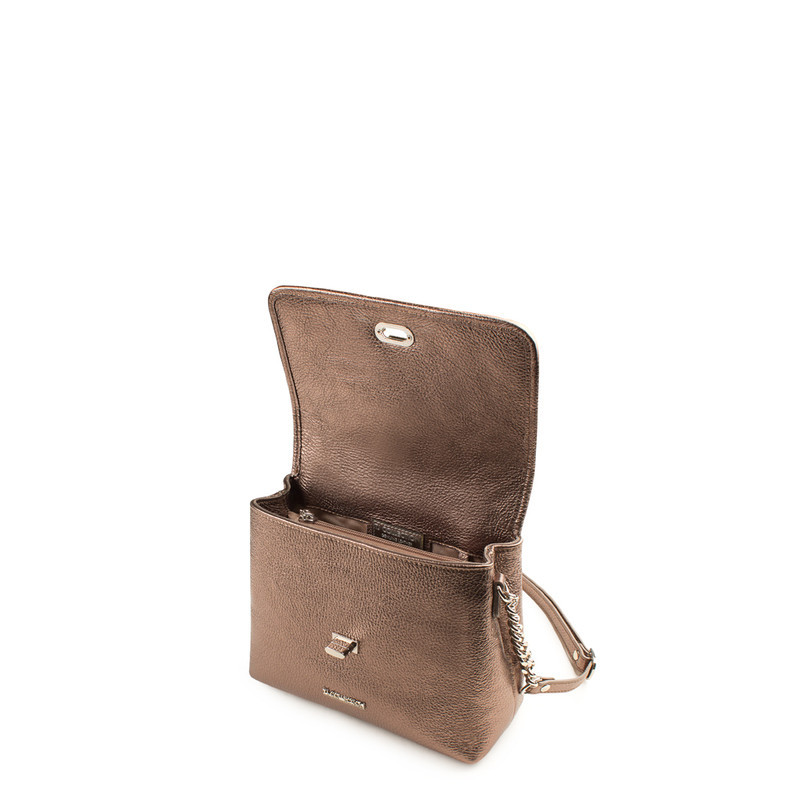 Bronze Metallic Leather Bag with Flower Embroidery YM 5220519 BRZ | TJ COLLECTION | Side Image - 3