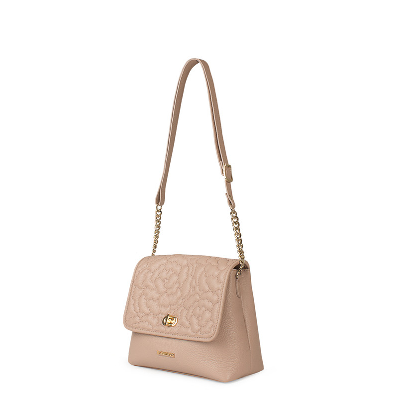 Rosewater Pink Leather Bag with Flower Embroidery YM 5220519 PNA | TJ COLLECTION | Side Image - 1