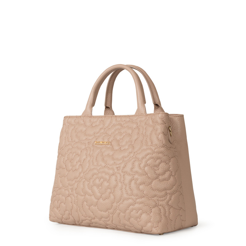 Peony Embroidered Grained Leather Bag Sofia YM 5350019 PNA | TJ COLLECTION | Side Image - 1