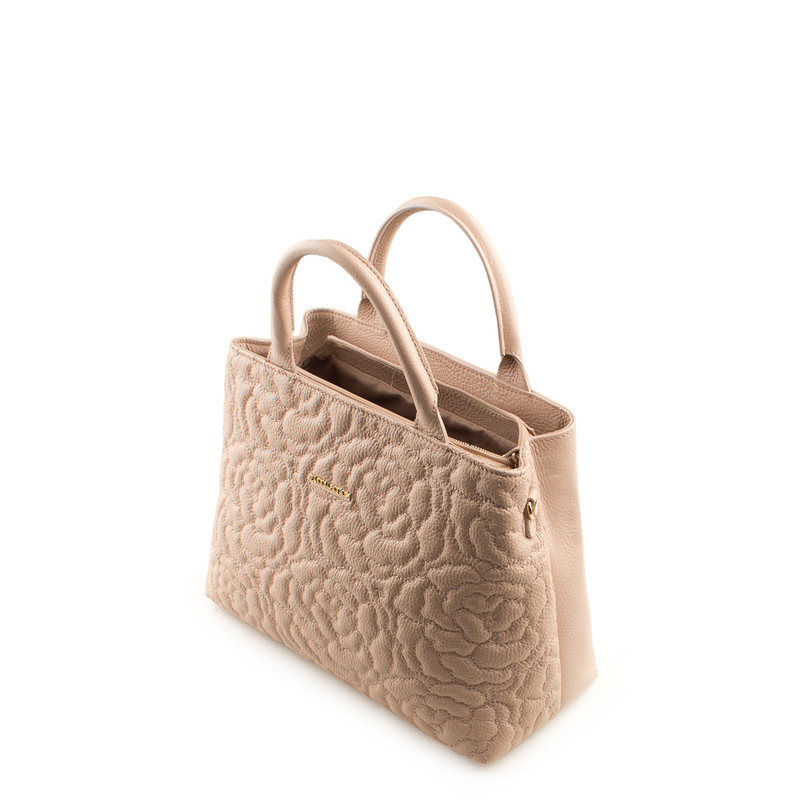 Peony Embroidered Grained Leather Bag Sofia YM 5350019 PNA | TJ COLLECTION | Side Image - 3