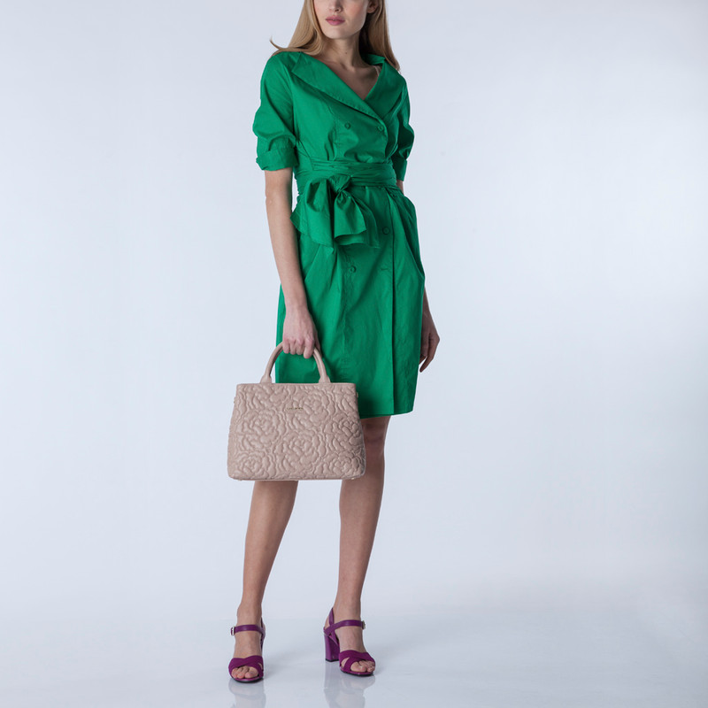 Peony Embroidered Grained Leather Bag Sofia YM 5350019 PNA | TJ COLLECTION | Side Image - 4