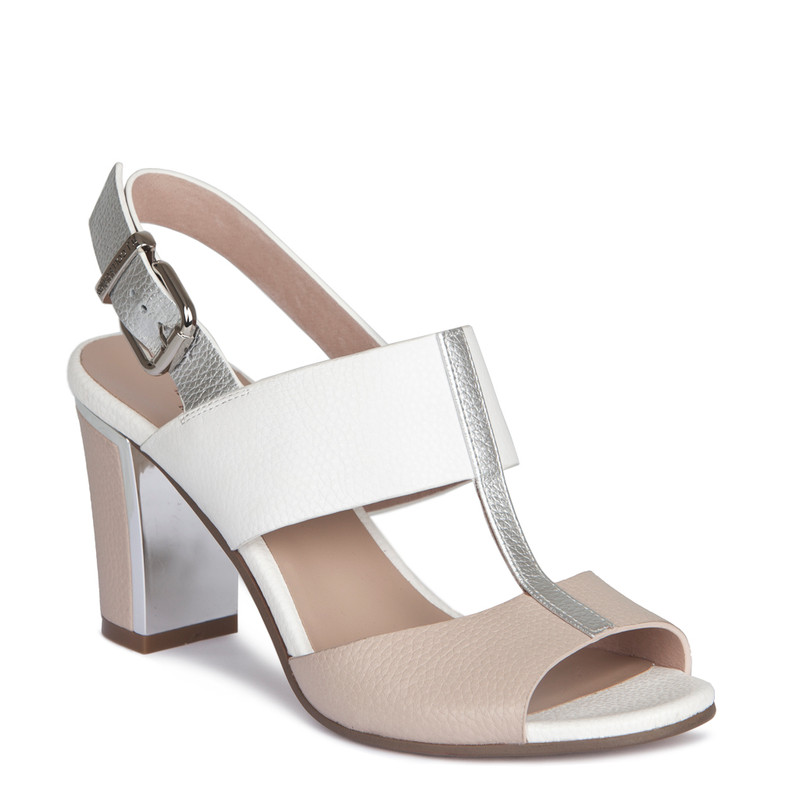 Nude White Summer Block Heel Sandals | TJ COLLECTION | Side Image - 1