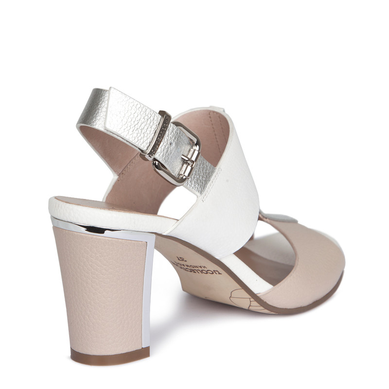 Nude White Summer Block Heel Sandals | TJ COLLECTION | Side Image - 2