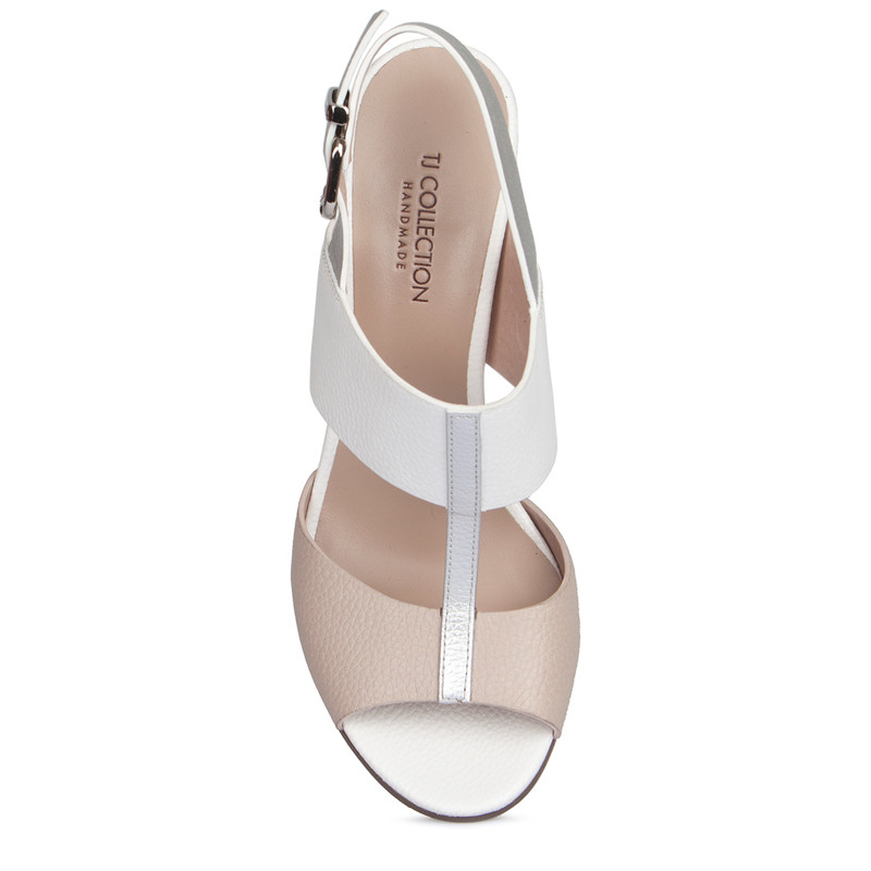 Nude White Summer Block Heel Sandals | TJ COLLECTION | Side Image - 3