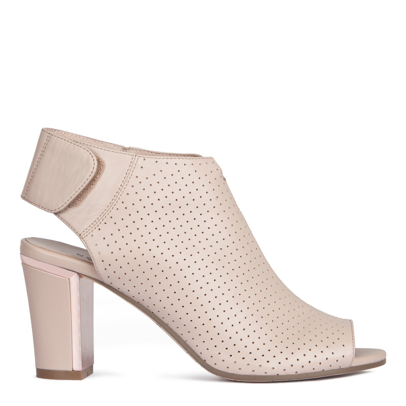 Women's Taupe Perforated Leather Booties GD 5182918 TPA