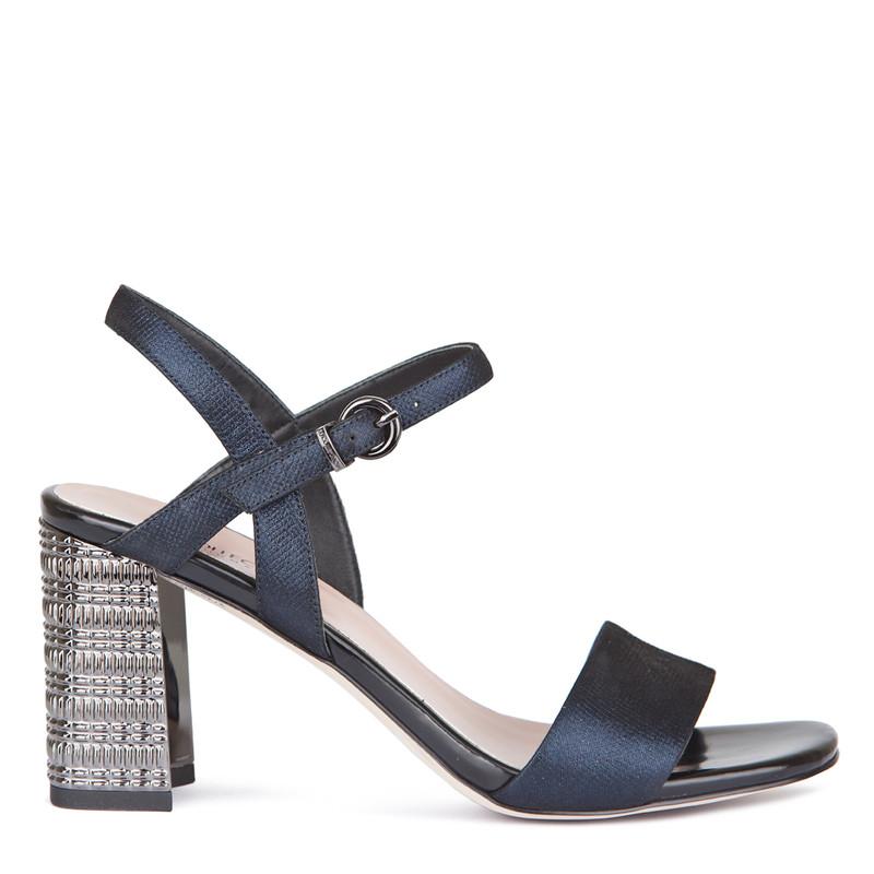 Women's Navy Leather Satement Heel Sandals GF 5175419 NVZ