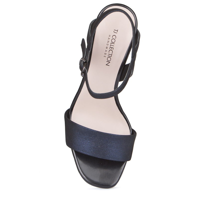 Women's Muted Navy Leather Statement Heel Sandals GF 5175419 NVZ