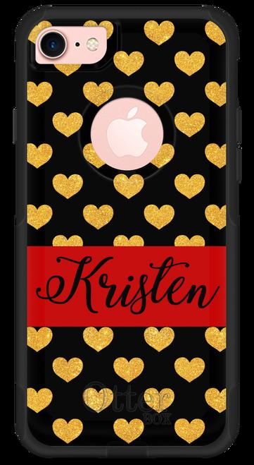 Gold Glitter Hearts OtterBox® Commuter Series® Phone Case