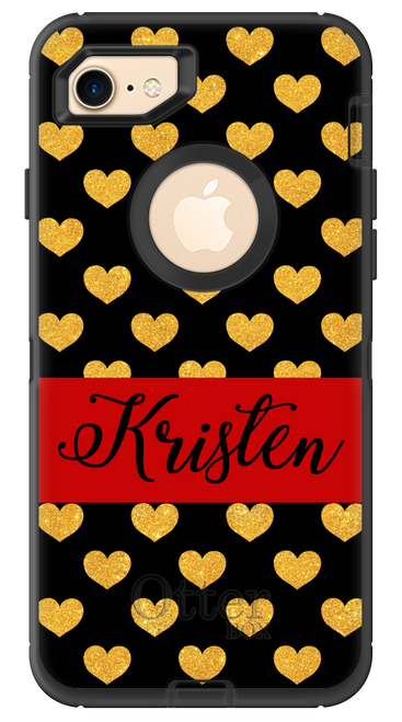 Gold Glitter Hearts OtterBox® Defender Series® Phone Case