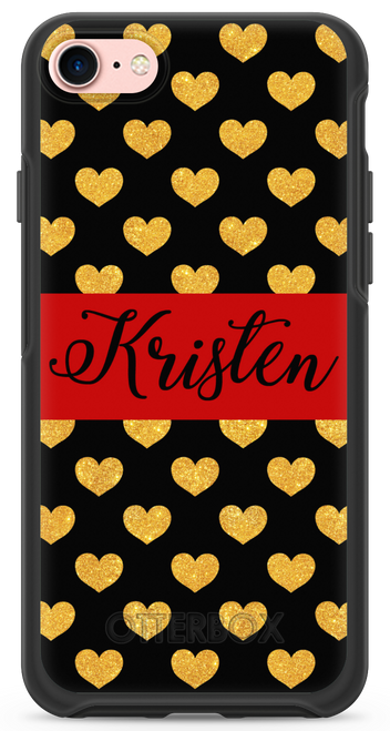 Gold Glitter Hearts OtterBox® Symmetry Series® Phone Case
