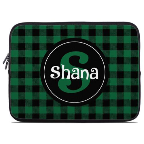 Green Buffalo Plaid Laptop Sleeve