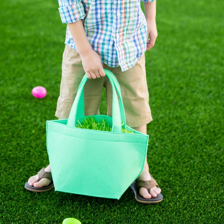 Mint Felt Easter Bucket