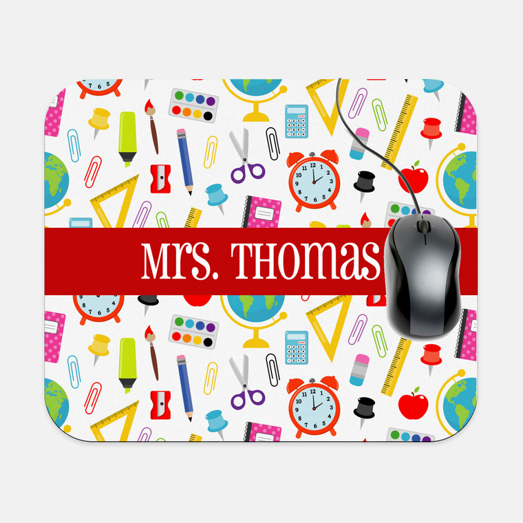 School Supplies Rectangle Mouse Pad