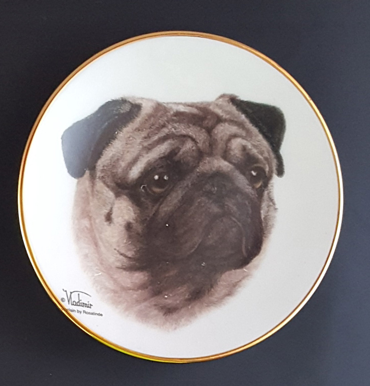 Purple Turtle Gifts Classic Color Collection 4in Mini Porcelain Plate Pug