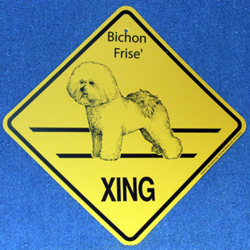 Yellow Xing Crossing Sign - Bichon Frise (2246)