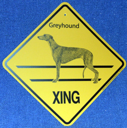 Yellow Xing Crossing Sign - Greyhound (2250)