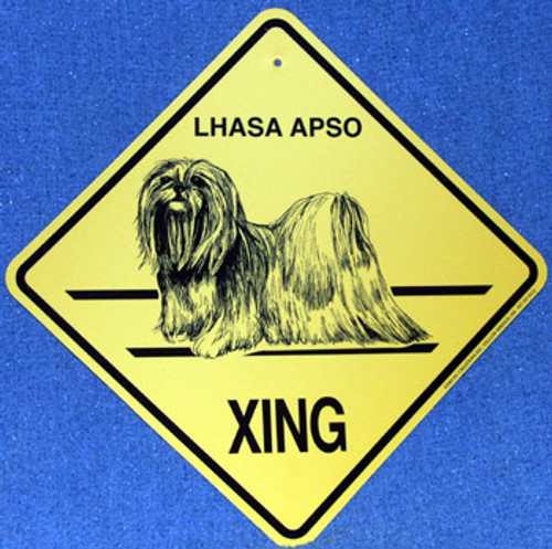 Yellow Xing Crossing Sign - Lhasa Apso (2252)