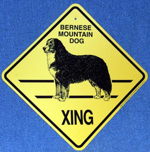 Yellow Xing Crossing Sign - Bernese Mountain Dog (2268)