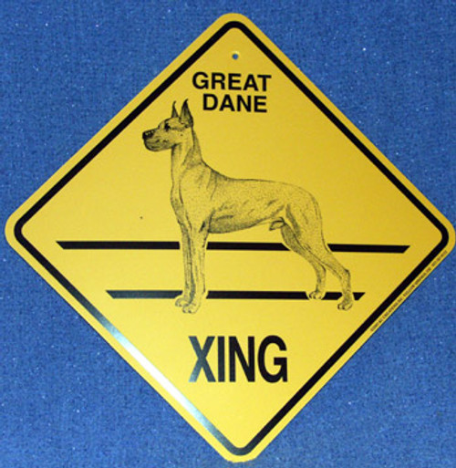 Yellow Xing Crossing Sign - Great Dane (Cropped) (2281)