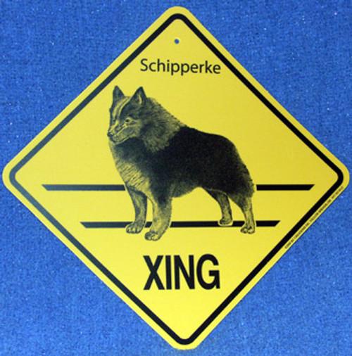 Yellow Xing Crossing Sign - Schipperke (2294)