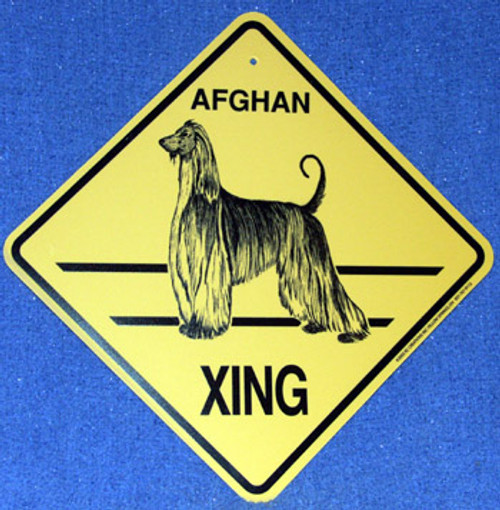 Yellow Xing Crossing Sign - Afghan (2319)