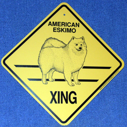 Yellow Xing Crossing Sign - American Eskimo (2320)