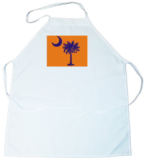 Apron -  Palmetto Tree and moon (Blue on Orange Background) (100-0076-005)