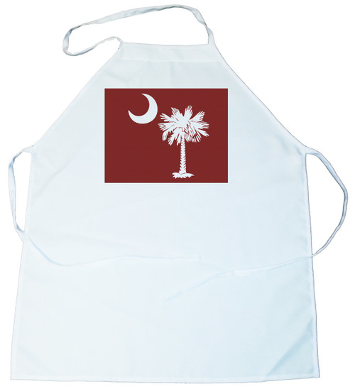 Apron -  Palmetto Tree and moon (On Garnet Background) (100-0076-001)