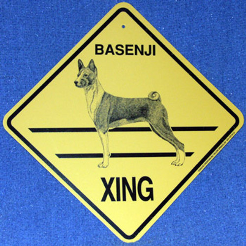 Yellow Xing Crossing Sign - Basenji (2323)
