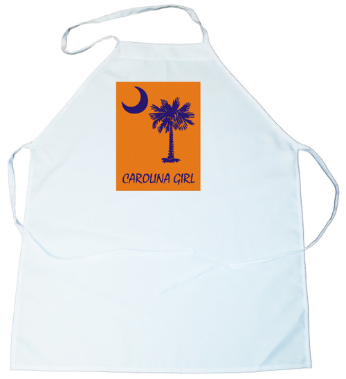 Apron -  Carolina Girl Palmetto & Moon (Blue on Orange Background) (100-0061-005)