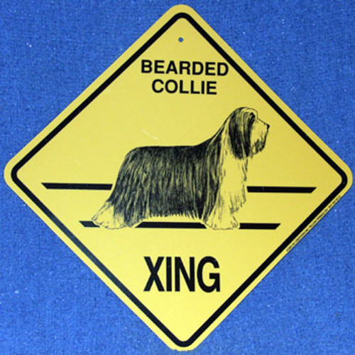 Yellow Xing Crossing Sign - Bearded Collie (2324)