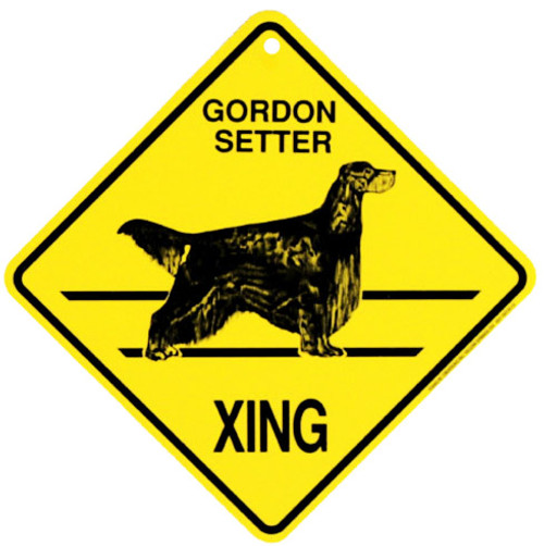 Yellow Xing Crossing Sign - Gordon Setter (2333)