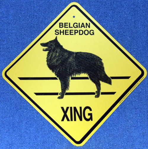 Yellow Xing Crossing Sign - Belgian Sheepdog (2341)