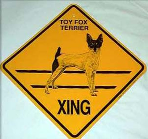 Yellow Xing Crossing Sign - Toy Fox Terrier (2347)