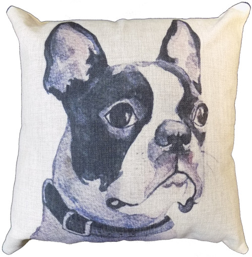 Cotton & Linen Dog Pillow - Boston Terrier (10356)