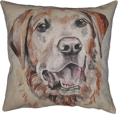 Cotton & Linen Dog Pillow - Yellow Labrador Retriever (10358)