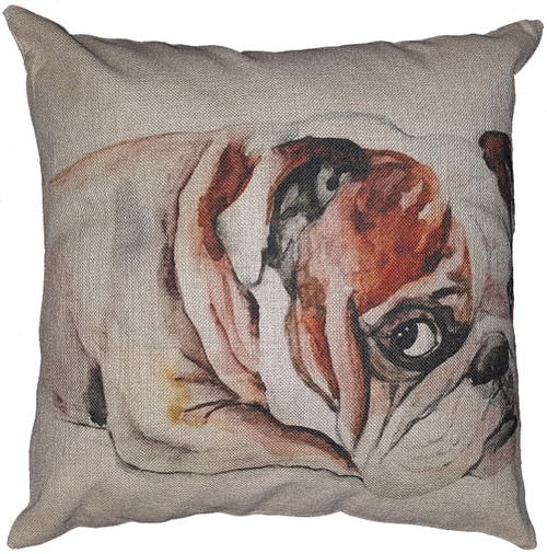 Cotton & Linen Dog Pillow - Bulldog (10359)