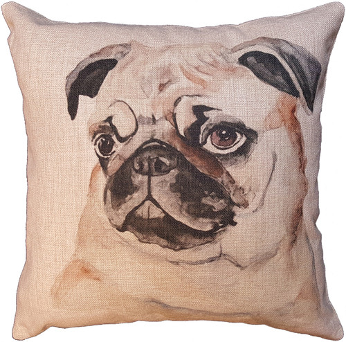 Cotton & Linen Dog Pillow - Pug (10360)