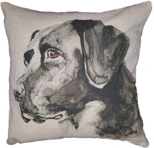 Cotton & Linen Dog Pillow - Black Labrador Retriever (10364)