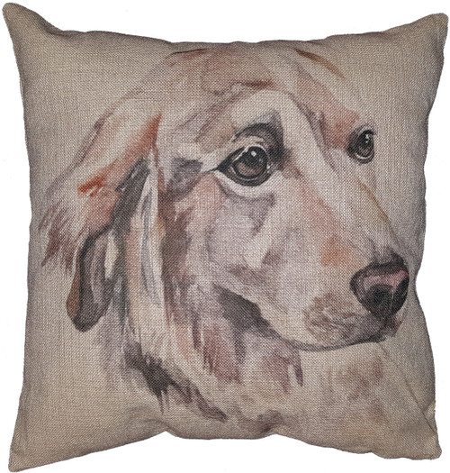 Cotton & Linen Dog Pillow - Golden Retriever (4873) (10365)